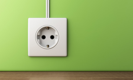 electric power socket outlet, 3D Illustration Banco de Imagens