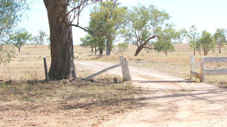cattle grid: Outback Australian sheep farm driveway entrance from angle with cattle grid gate