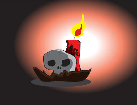 skeleton and candle