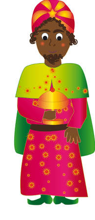 three kings: Vector illustration Baltasar Wise man. Magenta suit. Bring the incense in a glass.