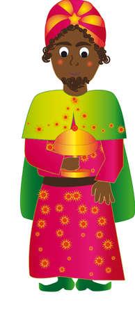 myrrh: Vector illustration Baltasar Wise man. Magenta suit. Bring the incense in a glass.