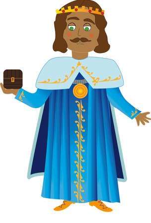 three kings: Vector illustration Wise Man Gaspar. Chest wearing blue suit with gold Illustration