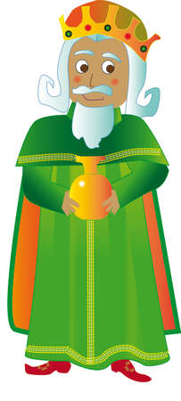 melchior: Vector illustration Wise man Melchior. Green suit and carrying layer myrrh