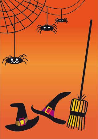 Fond d'Halloween avec des chapeaux de sorcière, des balais et des toiles d'araignées Banque d'images - 65364592