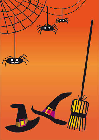 cobwebs: Halloween background with witch hats, broom and cobwebs