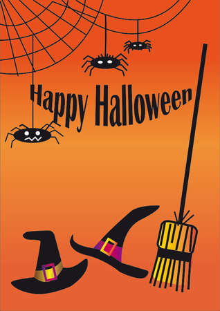 cobwebs: Halloween background with witch hats, broom and cobwebs. Happy Halloween Illustration
