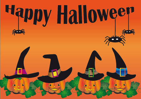 cobwebs: Horizontal Happy Halloween background with pumpkins and cobwebs With witch hats Illustration