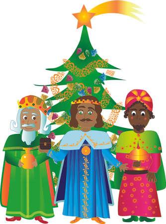 myrrh: Kings with Christmas tree, bringing gold, frankincense and myrrh.