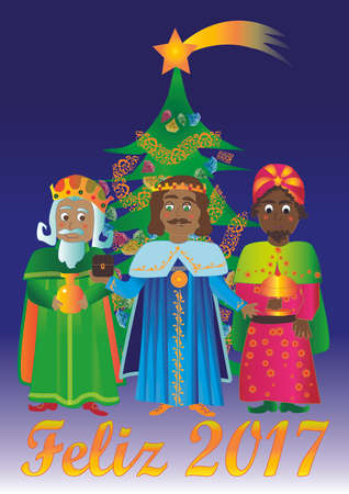 Kings with Christmas tree, bringing gold, frankincense and myrrh, with text Happy 2017
