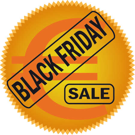 rebates: Black friday icon in black yellows, oranges and. White background. vector illustration