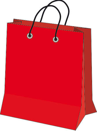 rebates: Vector illustration in red paper bag on a white background
