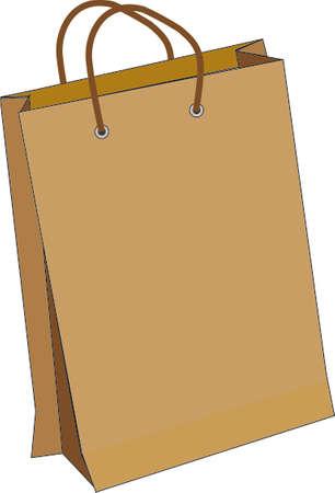 白地に茶色の紙袋のベクトル図  イラスト・ベクター素材