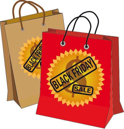 ベクトル図黒金曜日、ドル記号とテキストのベアリング 2 つの袋  イラスト・ベクター素材