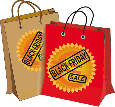 rebates: Vector illustration Black friday, with two bags bearing the text with the euro symbol