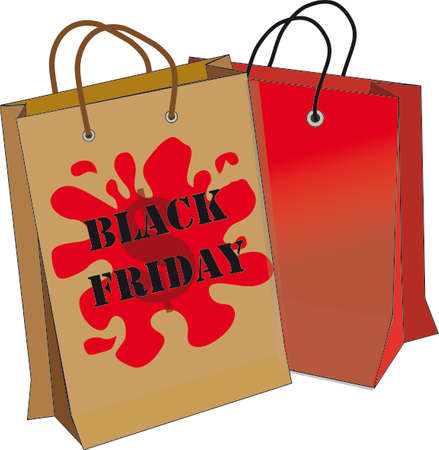 red bag: Black friday. Red bag and brown bag with text black friday. White background. vector illustration