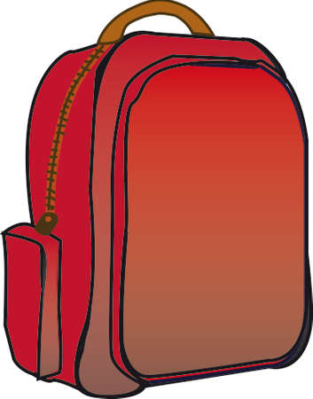 secondary: School red backpack with white background. Drawing illustration