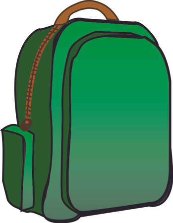 secondary: School green backpack with white background. Drawing illustration Illustration