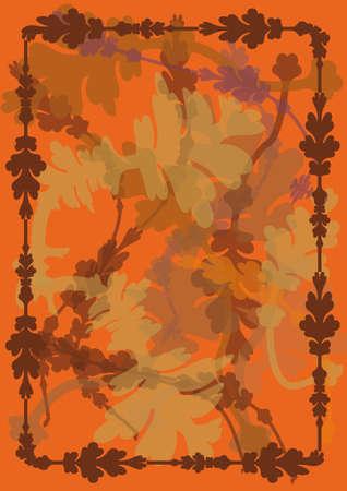 秋の背景に葉、トーストのトーンのフレーム。オレンジ色と茶色の色