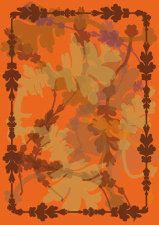 Autumn background with leaves and frame in toasted tones. orange and brown colors