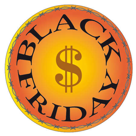 balances: Black Friday in yellow and black tones, in a circle. Stock Photo