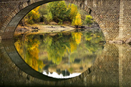 Buitrago Lozoya River passing through. Autumn reflections. Madrid's community. spain