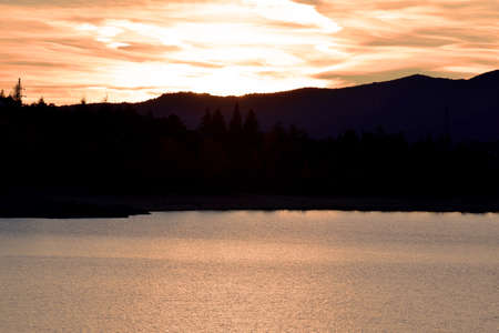 Sunset Reservoir Navacerrada. Madrid's community. spain