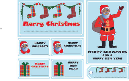 Christmas cards with Santa Claus and Christmas themes.