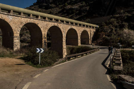 Aqueduct of the Canal de Isabel II in Patones de Arriba. Madrid's community. spain