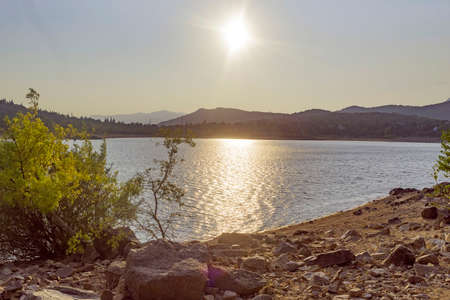 Sunset in the reservoir of Navacerrada. Madrid's community. Spain. Europe. Foto de archivo