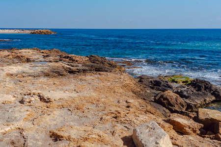 Torrevieja coast. Cliffs of the promenade. Alicante. Valencia Province Spain.