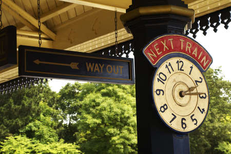 depart: Station Clock Stock Photo