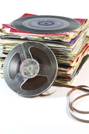 Vintage Records with Tape Reel photo