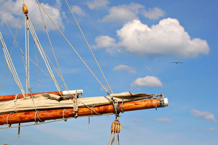 bowsprit: Sail Boat Mast Closeup under blue sky