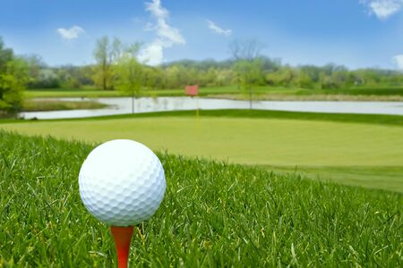golf ball and beautiful golf course