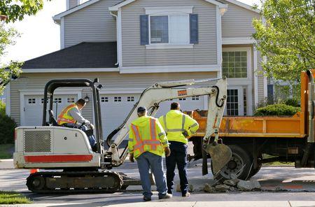 Pre�lufthammer: Bauarbeiter arbeiten Wohngegend