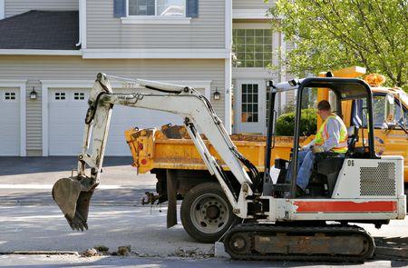 Pre�lufthammer: Bauarbeiter zur Festsetzung der Stra�e