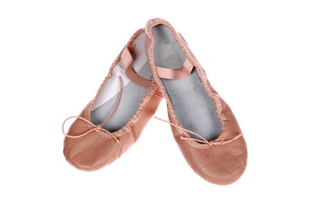 footware: a pair of leather ballet shoes isolated