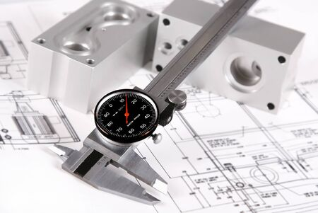 Caliper over blur engineering drawing and blocks