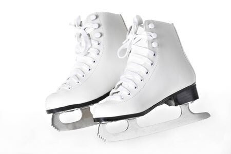 a pair of white figure skates on white background Imagens