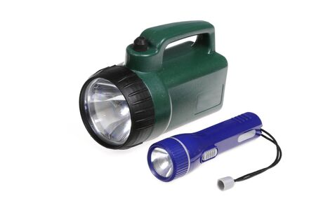power operated: isolated flashlights Stock Photo