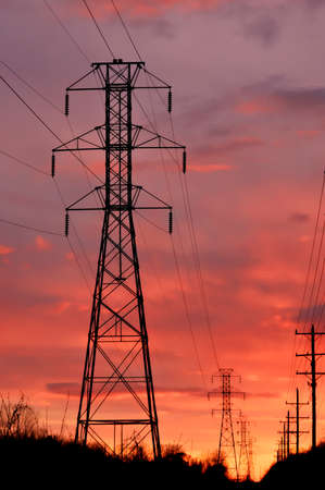 Silhouette powerline tower on sunset Stock Photo - 1412924