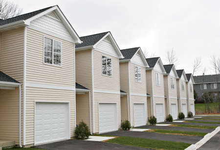 townhomes: line of newly finished townhomes ready for sale