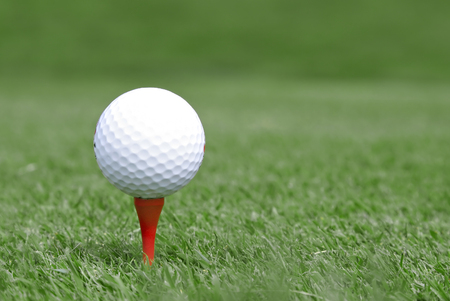 golf ball on tee, shallow DOF Imagens