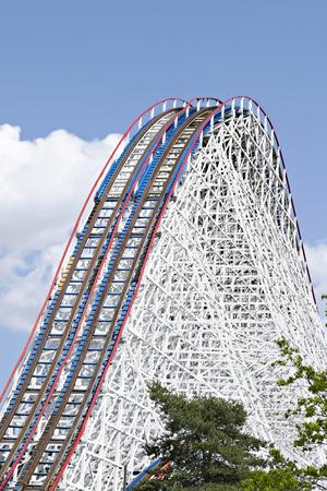 roller: Huge roller coaster under blue sky