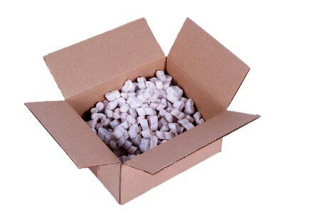 Shipping box with styrofoam peanuts Stock Photo - 1806605