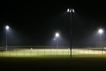 outfield: Ball Park at Night Stock Photo