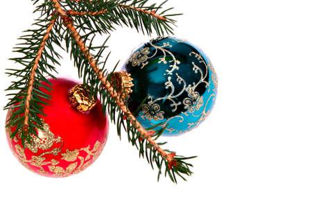 Two Christmas Balls on Pine Tree Branch Stok Fotoğraf