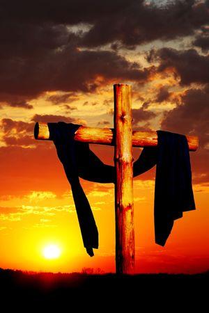 easter sunrise: Wooden Cross on Dramatic Sky Stock Photo