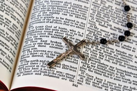 Rosary and Bible, Shallow DOF photo