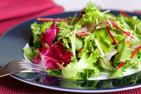 fresh salad with parmesan cheese